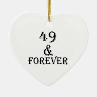 Ornamento De Cerâmica 49 e para sempre design do aniversário