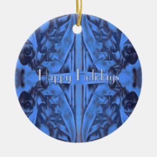 Ornamento De Cerâmica 4 figuras na mensagem azul w do feriado seu texto
