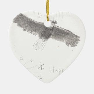Ornamento De Cerâmica 4' th da águia americana dos fogos-de-artifício de