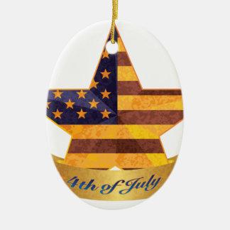 Ornamento De Cerâmica 4o da bandeira e da estrela de julho com textura