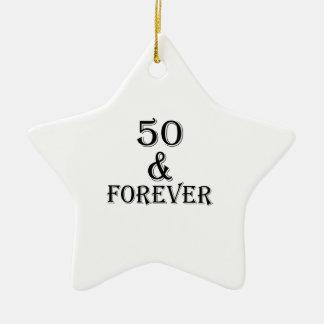 Ornamento De Cerâmica 50 e para sempre design do aniversário