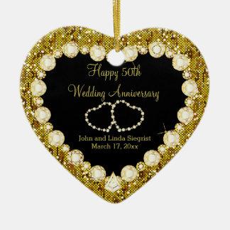 Ornamento De Cerâmica 50th Aniversário de casamento dourado