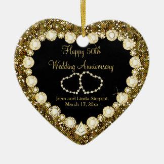 Ornamento De Cerâmica 50th Aniversário de casamento dourado do brilho