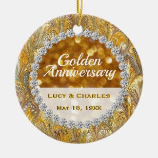 Ornamento De Cerâmica 50th De casamento dourado do aniversário da foto