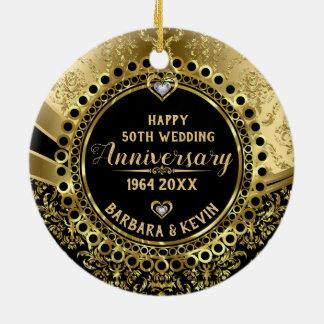 Ornamento De Cerâmica 50th Diamantes do aniversário de casamento &