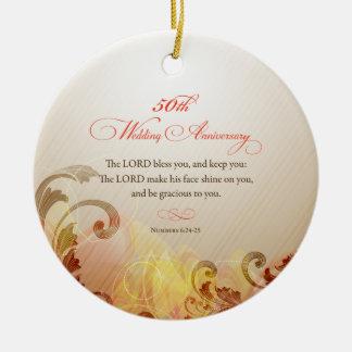 Ornamento De Cerâmica 50th O aniversário de casamento, senhor Bênção &