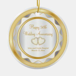 Ornamento De Cerâmica 50th Ouro e aniversário de casamento branco
