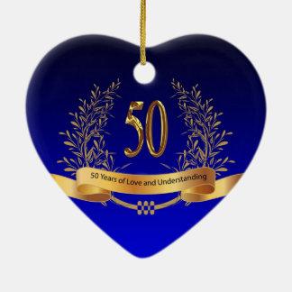 Ornamento De Cerâmica 50th presentes elegantes do aniversário de
