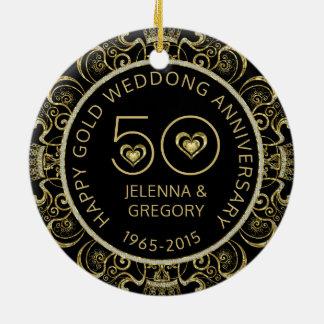 Ornamento De Cerâmica 50th Preto do aniversário de casamento do ouro &