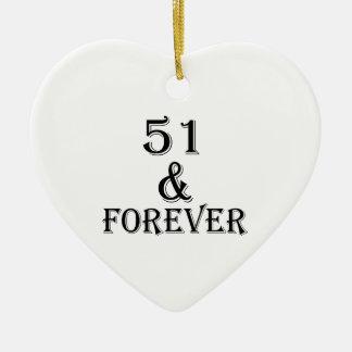 Ornamento De Cerâmica 51 e para sempre design do aniversário