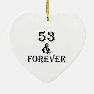 Ornamento De Cerâmica 53 e para sempre design do aniversário