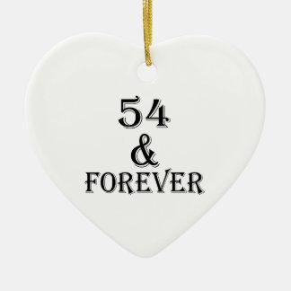 Ornamento De Cerâmica 54 e para sempre design do aniversário