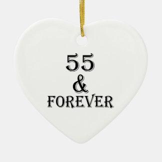 Ornamento De Cerâmica 55 e para sempre design do aniversário