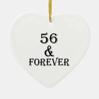 Ornamento De Cerâmica 56 e para sempre design do aniversário