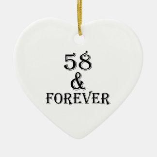 Ornamento De Cerâmica 58 e para sempre design do aniversário