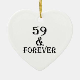 Ornamento De Cerâmica 59 e para sempre design do aniversário