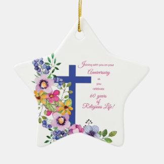 Ornamento De Cerâmica 60th Aniversário, freira, cruz religiosa da vida