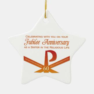 Ornamento De Cerâmica 60th Cruz do Pax da freira do aniversário do