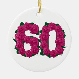 Ornamento De Cerâmica 60th flores do rosa do aniversário de casamento do