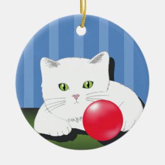 Ornamento De Cerâmica 63White Cat_rasterized