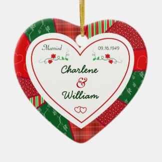 Ornamento De Cerâmica 65th Presente do coração da edredão do Natal do