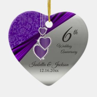 Ornamento De Cerâmica 6o Aniversário de casamento roxo Amethyst