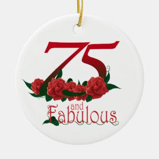 Ornamento De Cerâmica 75 e 75th número fabuloso do aniversário