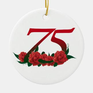 Ornamento De Cerâmica 75th rosa vermelha número 75 do aniversário