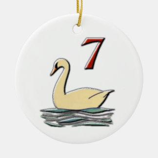 Ornamento De Cerâmica 7 cisnes uma natação
