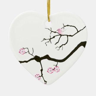 Ornamento De Cerâmica 7 flores com pássaro cor-de-rosa, fernandes tony