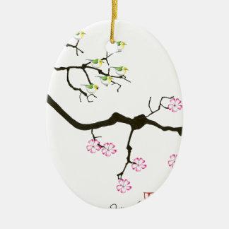Ornamento De Cerâmica 7 flores de sakura com 7 pássaros, fernandes tony