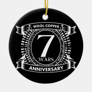 Ornamento De Cerâmica 7o cobre de lãs do aniversário de casamento