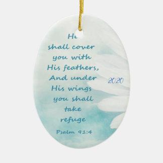 Ornamento De Cerâmica 91:4 datado feito sob encomenda do salmo sob seu