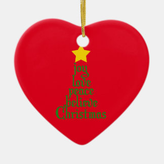Ornamento De Cerâmica A alegria, amor, paz, acredita, Natal