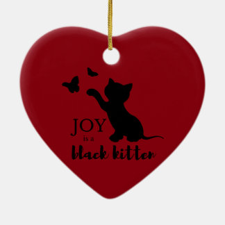 Ornamento De Cerâmica A alegria é um gatinho preto