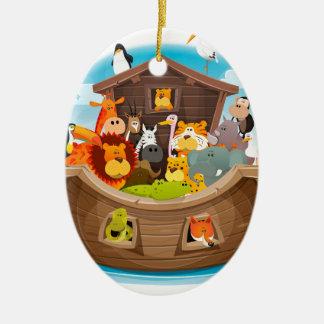 Ornamento De Cerâmica A arca de Noah com animais da selva