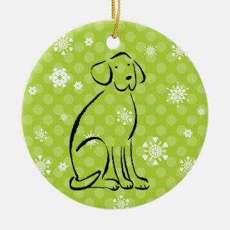 Ornamento De Cerâmica A arte de Labrador do Natal adiciona o nome