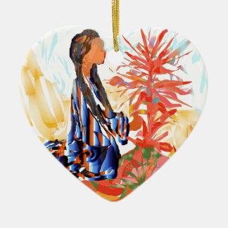 Ornamento De Cerâmica A árvore de doação Praying da menina do nativo