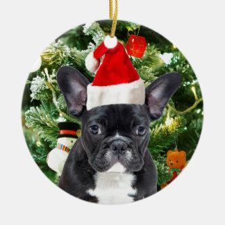 Ornamento De Cerâmica A árvore de Natal do buldogue francês Ornaments o
