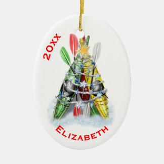 Ornamento De Cerâmica A árvore de Natal do caiaque