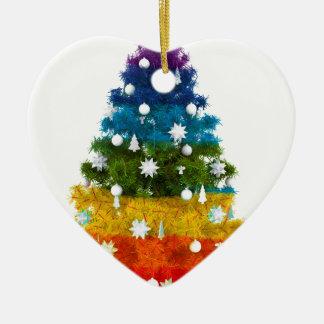 Ornamento De Cerâmica a árvore do feriado do Natal colore a alegria