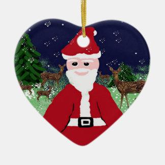 Ornamento De Cerâmica A árvore Ornaments Papai Noel e cervos