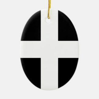 Ornamento De Cerâmica A bandeira de Piran Cornish do santo - bandeira de