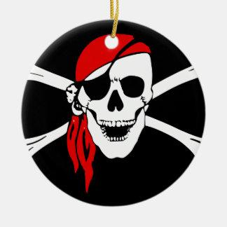 Ornamento De Cerâmica A bandeira de pirata desossa o símbolo do perigo