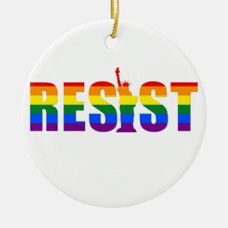 Ornamento De Cerâmica A bandeira do arco-íris de LGBT resiste direitos
