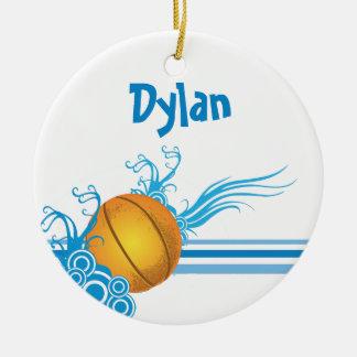 Ornamento De Cerâmica A bola do basquetebol ostenta o nome personalizado