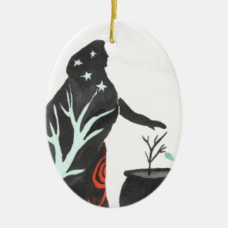 Ornamento De Cerâmica A bruxa e seu caldeirão