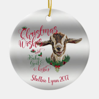 Ornamento De Cerâmica A cabra do bebê dos desejos do Natal da CABRA  