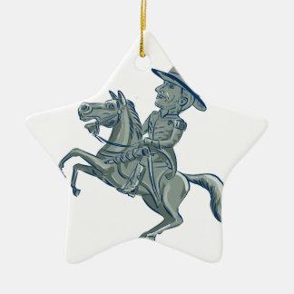 Ornamento De Cerâmica A cavalaria americana comanda o carro Prancing do