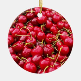 Ornamento De Cerâmica a cereja vermelha bonito deliciosa frutifica